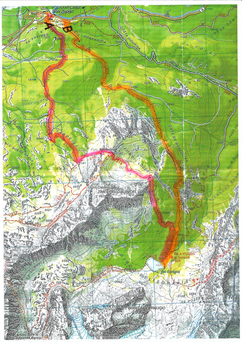 Mappa Dolomiti Ampezzane